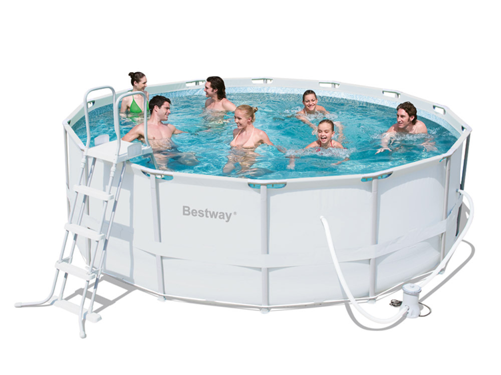 Piscine ronde bestway steel pro frame 427x122cm avec for Bestway piscine