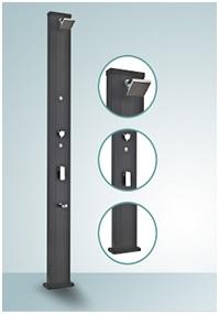 douche solaire droite alu 28l black. Black Bedroom Furniture Sets. Home Design Ideas