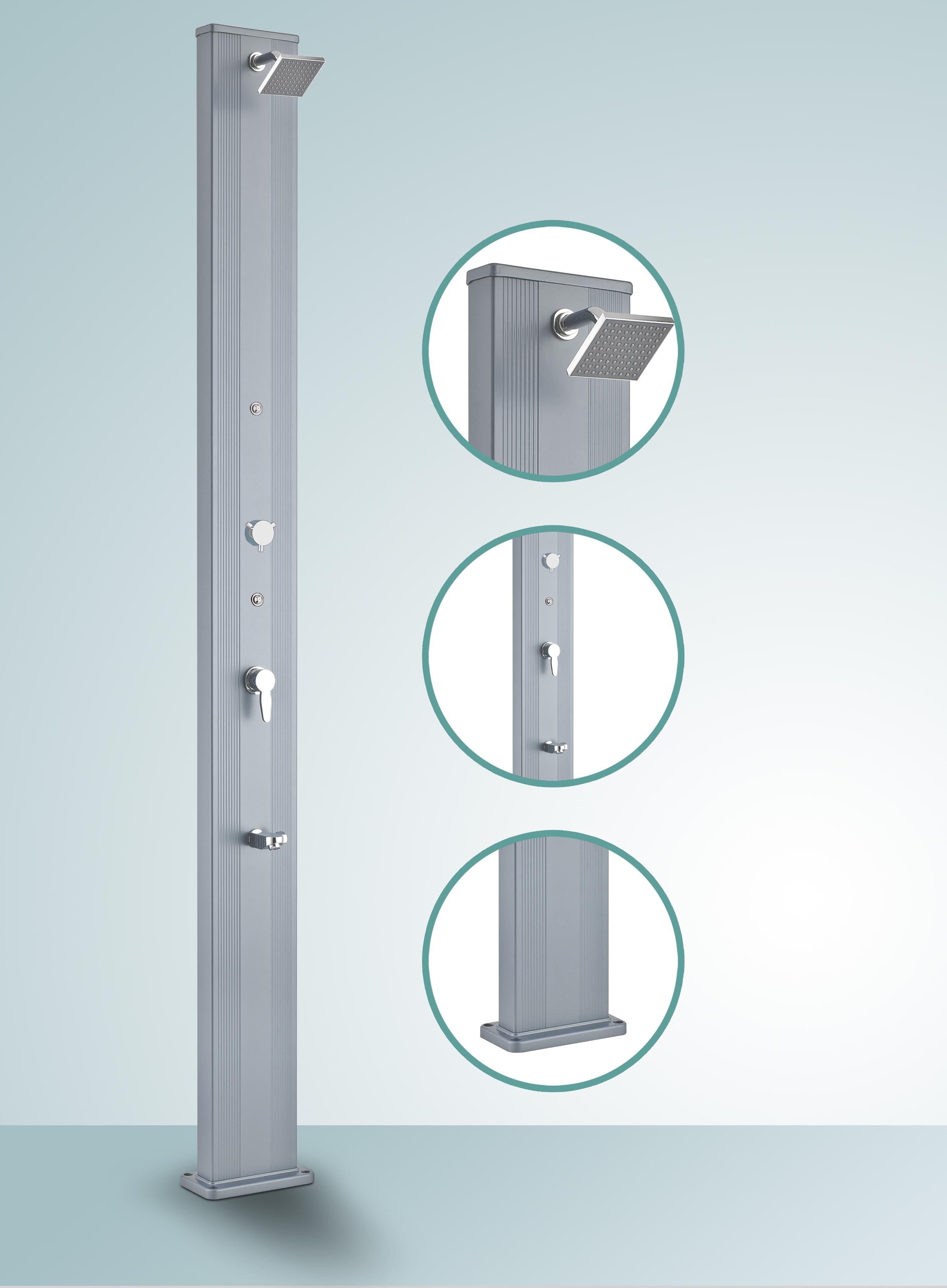Douche solaire droite alu 28l silver blue - Comment fonctionne une douche solaire ...