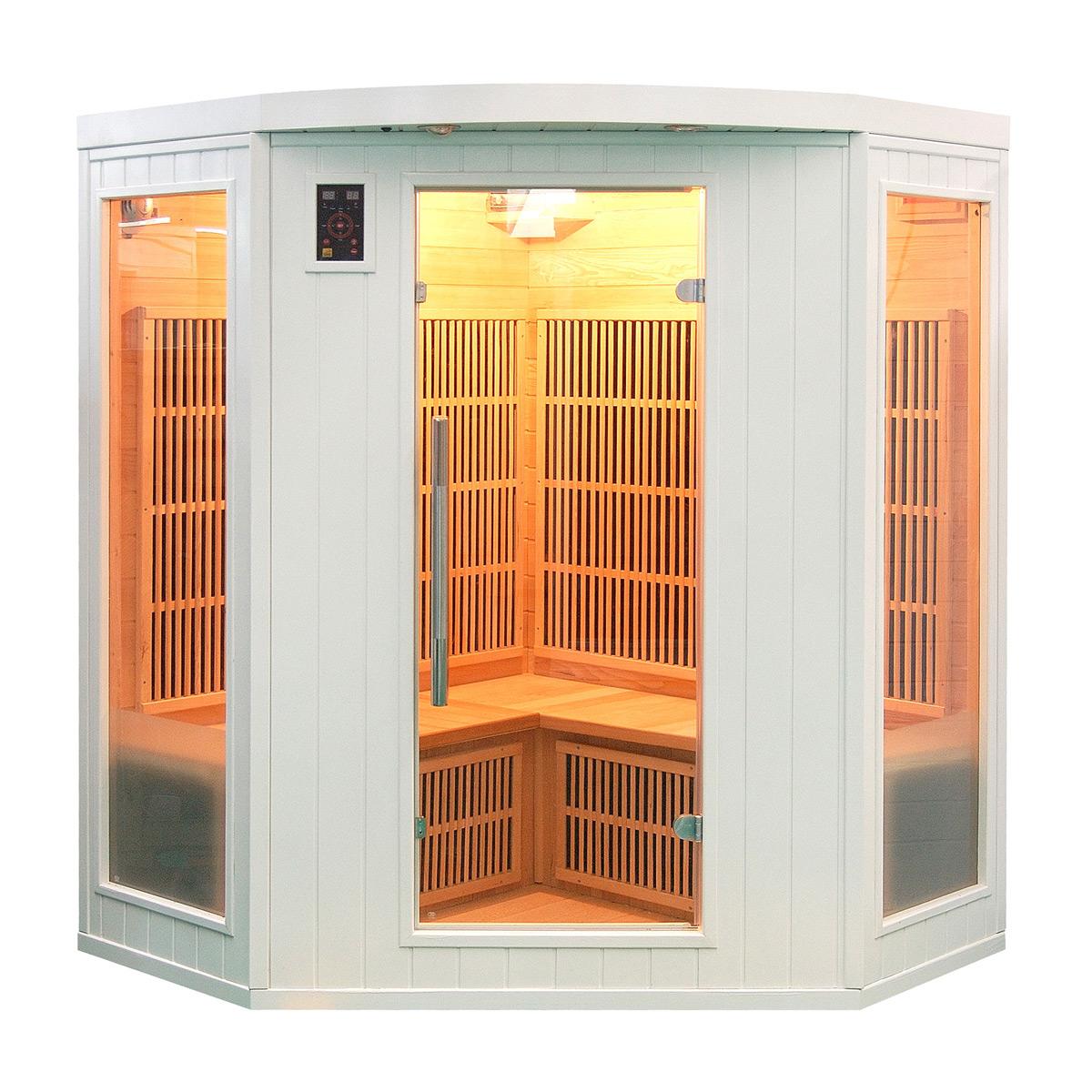 cabine sauna soleil blanc 3 4 places. Black Bedroom Furniture Sets. Home Design Ideas