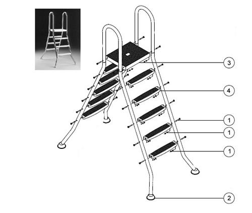 echelle 2x3 marches plate forme pour piscines hors sol 1 m max. Black Bedroom Furniture Sets. Home Design Ideas