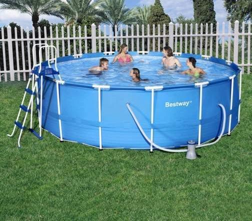 Kit piscine ronde steel pro frame pools bleue d 457cm h 122cm for Boutique de la piscine